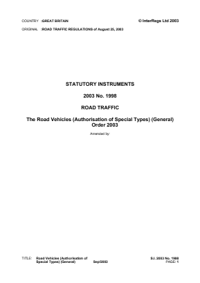 Road Vehicles (Authorisation of Special Types) General Order 2003.