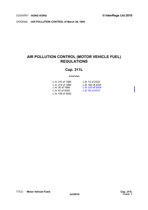 Motor Vehicle Fuel Regulations.