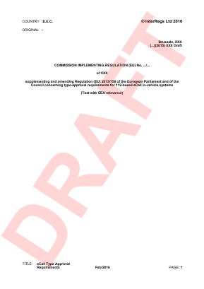 Draft Implementing Regulation Implementing (EU) No. 2015/758.