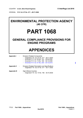 General Compliance Provisions for Engine Programs - Appendices.