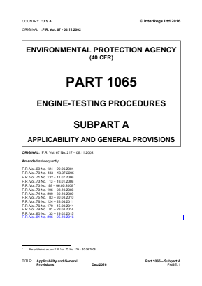 Engine Testing Procedures - Applicability and General Provisions.