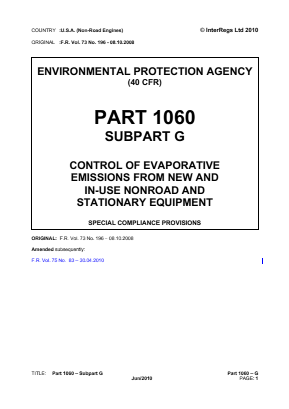 Control of Evaporative Emissions from New and In-Use Non-Road and Stationary Equipment - Special Compliance Provisions.