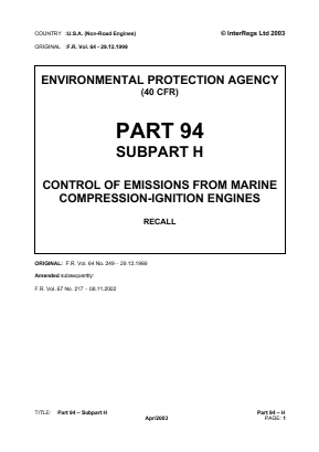 Control of Emissions from Marine Compression-ignition Engines - Recall.