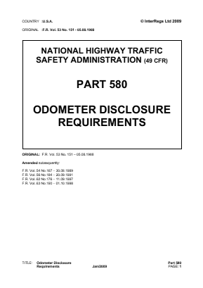 Odometer Disclosure Requirements.