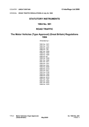 Motor Vehicles (Type Approval) (Great Britain) Regulations 1984.