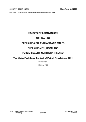 Motor Fuel (Lead Content of Petrol) Regulations 1981.
