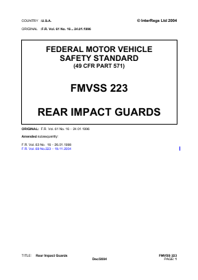 Rear Impact Guards (Trailers).