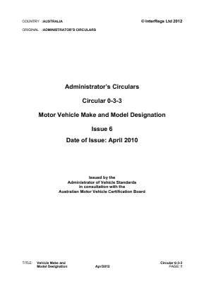 Vehicle Make and Model Designation.