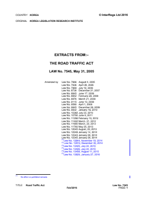 Road Traffic Act (Extracts).