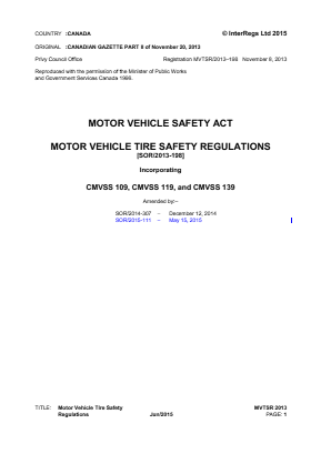 Motor Vehicle Tire Safety Regulations (SOR/2013-198).