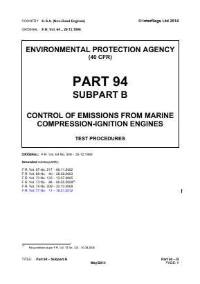 Control of Emissions from Marine Compression-ignition Engines - Test Procedures.