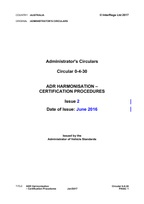 ADR Harmonisation - Certification Procedures.