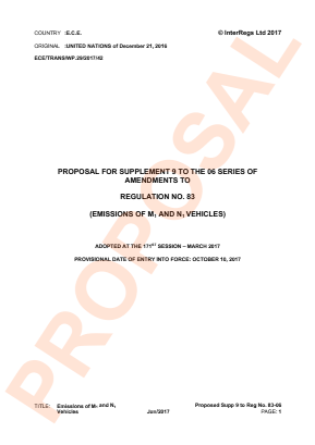 Emissions of M1 and N1 Vehicles. Proposed Supplement 9 to the 06 Series.
