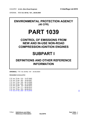 Control of Emissions from New and In-use Non-road Compression-ignition Engines - Definitions and Other Reference Information.