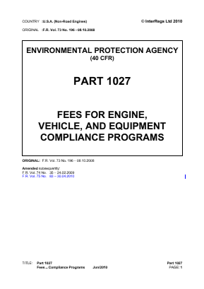 Fees for Engine, Vehicle and Equipment Compliance Programs.