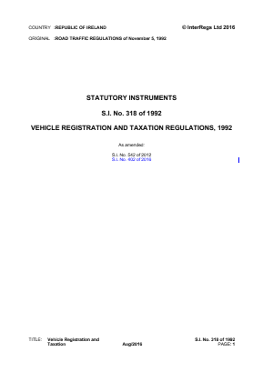Vehicle Registration and Taxation Regulations 1992.